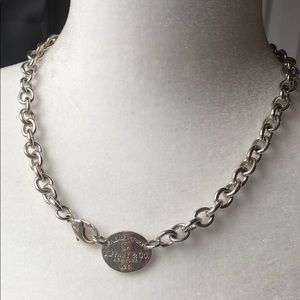 Return to Tiffany & Co Oval Tag Sterling Necklace